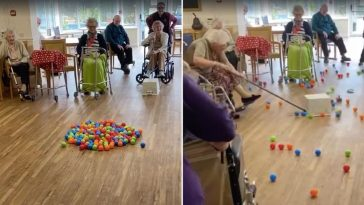 Care facility gets through isolation with a game of life-sized Hungry Hippos